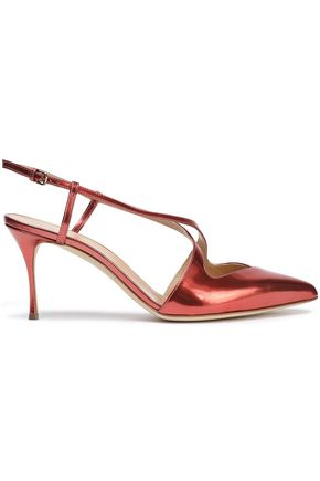 SERGIO ROSSI Cutout metallic leather slingback pumps