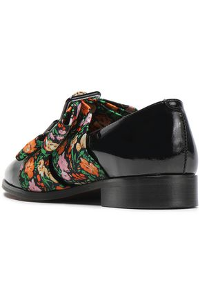 GANNI Maya bow-embellished floral-print faille and patent-leather loafers