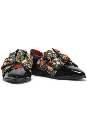 3e6c432ddd17 GANNI Maya bow-embellished floral-print faille and patent-leather loafers