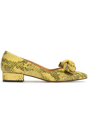 GANNI Vita bow-embellished snake-effect leather point-toe flats