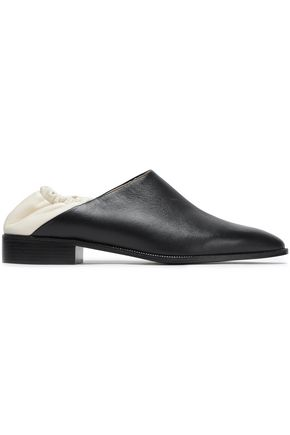 JIL SANDER NAVY Two-tone collapsible-heel leather loafers
