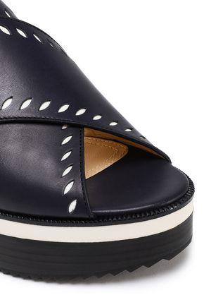 JIL SANDER NAVY Laser-cut leather slingback wedge sandals