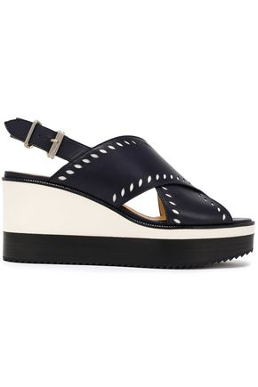 JIL SANDER NAVY Laser-cut leather slingback wedge sandals