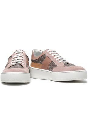 SERGIO ROSSI Glittered leather and suede sneakers