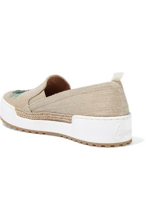 CASTAÑER Ines embroidered canvas slip-on sneakers