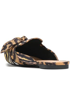 SCHUTZ Knotted printed crepe slippers