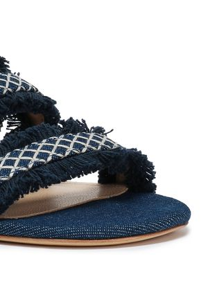 SCHUTZ Fringed embroidered denim slides