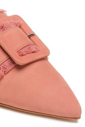 SCHUTZ Buckled fringed nubuck slippers