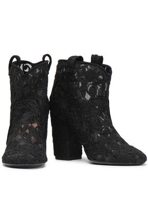 LAURENCE DACADE Pete embroidered mesh ankle boots