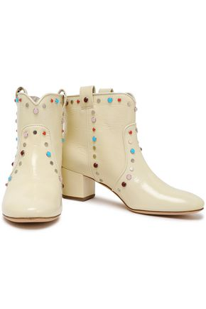 LAURENCE DACADE Embellished glossed-leather ankle boots