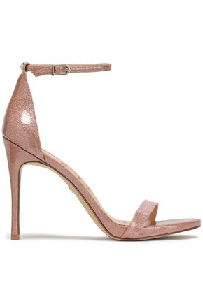 SAM EDELMAN Ariella glittered patent-leather sandals