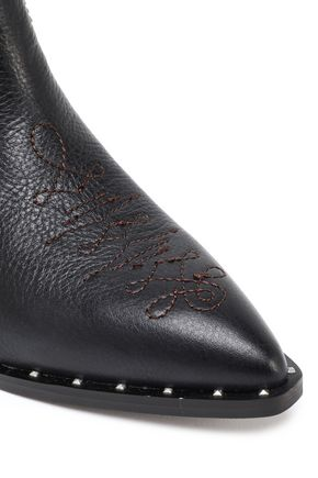 SAM EDELMAN Embroidered textured-leather ankle boots