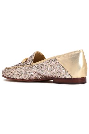 SAM EDELMAN Glittered metallic leather loafers