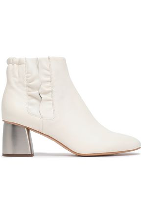 JIL SANDER NAVY Ruffle-trimmed leather ankle boots