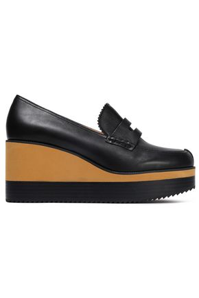 JIL SANDER NAVY Leather wedge loafers