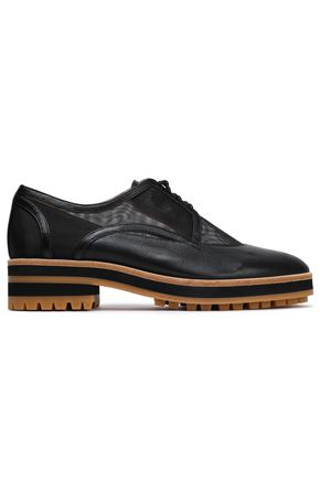 JIL SANDER NAVY Mesh-paneled leather platform brogues