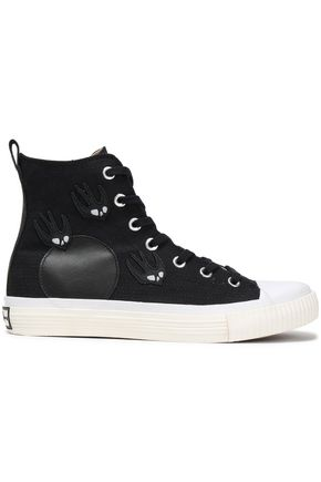 McQ Alexander McQueen Appliquéd canvas high-top sneakers