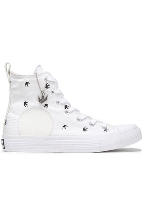 McQ Alexander McQueen Appliquéd printed canvas high-top sneakers