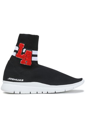 JOSHUA*S Appliquéd stretch-knit sneakers