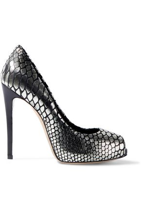 GIUSEPPE ZANOTTI Metallic snake-effect leather platform pumps
