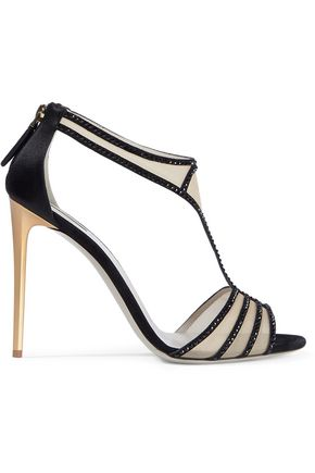 GIORGIO ARMANI Crystal-embellished satin-trimmed mesh sandals