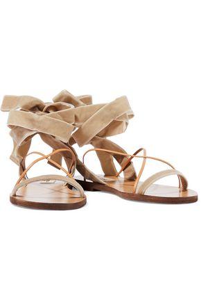 VALENTINO GARAVANI Lace-up velvet and leather sandals