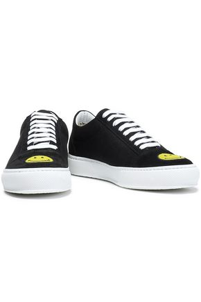 JOSHUA*S Embellished suede-paneled canvas sneakers