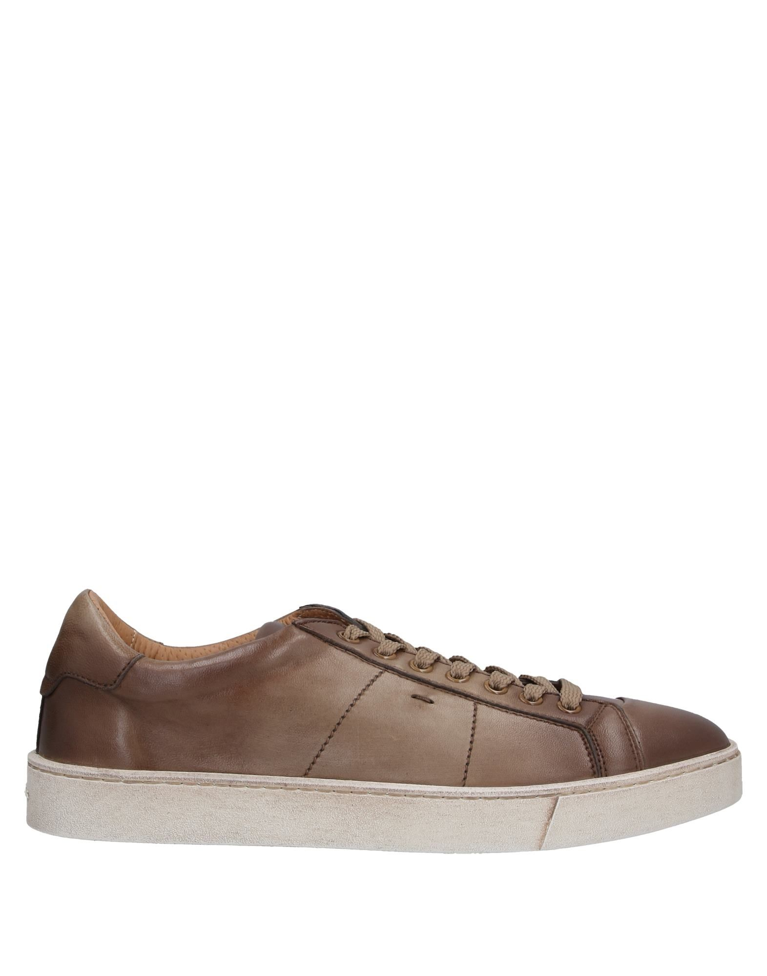 SANTONI Sneakers. leather, logo, solid color, laces, round toeline, flat, leather lining, rubber cleated sole, contains non-textile parts of animal origin, large sized. Soft Leather