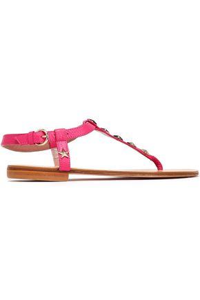 RED(V) Appliquéd textured-leather sandals