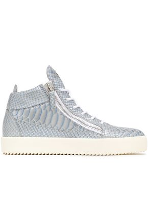 GIUSEPPE ZANOTTI Snake-effect leather high-top sneakers