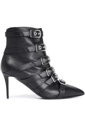 97f974052107ef GIUSEPPE ZANOTTI Buckled textured-leather ankle boots