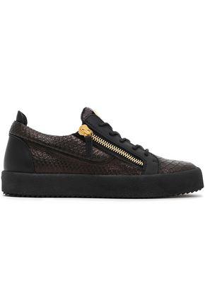 GIUSEPPE ZANOTTI Snake-effect leather sneakers