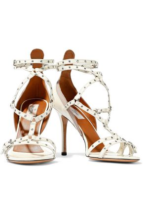 VALENTINO GARAVANI Cutout embellished patent-leather sandals