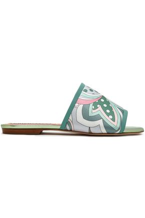 EMILIO PUCCI Leather-trimmed printed cotton-blend satin slides