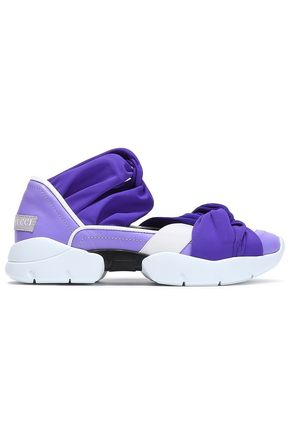 EMILIO PUCCI Twisted jersey, leather and neoprene slip-on sneakers