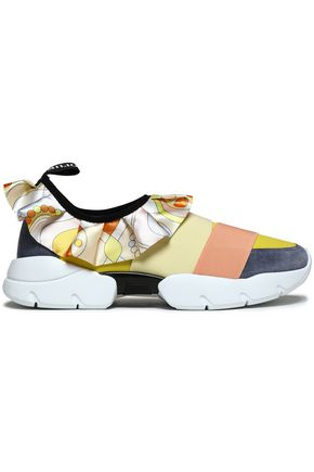 EMILIO PUCCI Ruffle-trimmed suede and neoprene slip-on sneakers
