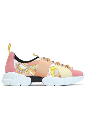 EMILIO PUCCI Embellished printed neoprene slip-on sneakers