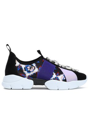 EMILIO PUCCI Embellished printed neoprene slip-on sneakers