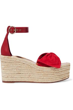 VALENTINO GARAVANI Bow-embellished leather and suede wedge espadrille sandals
