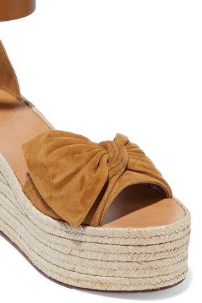 VALENTINO GARAVANI Bow-embellished leather and suede platform espadrilles