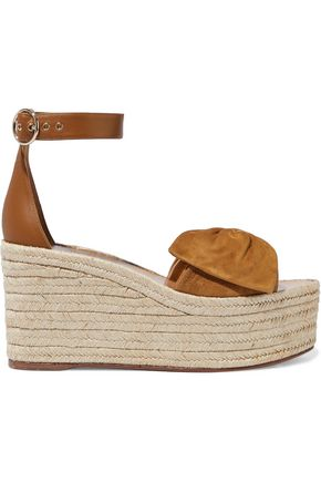 VALENTINO GARAVANI Bow-embellished leather and suede platform espadrilles