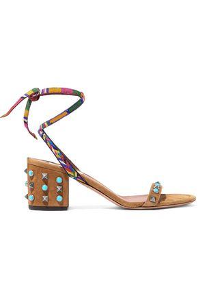 VALENTINO GARAVANI Rockstud Rolling embroidered suede sandals