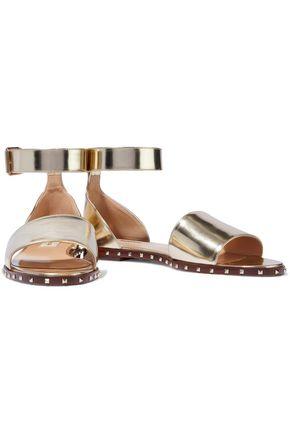 VALENTINO GARAVANI Studded metallic leather sandals