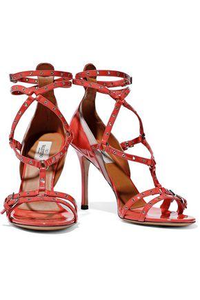 VALENTINO GARAVANI Cutout embellished patent-leather sandals
