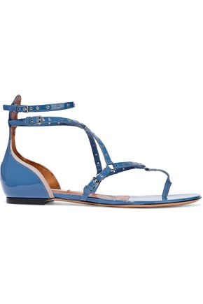 VALENTINO GARAVANI Eyelet-embellished patent-leather sandals