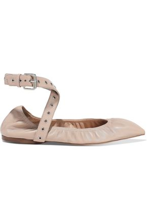 VALENTINO GARAVANI Love Latch eyelet-embellished leather point-toe flats