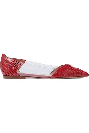 VALENTINO GARAVANI Gathered leather and PVC point-toe flats