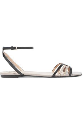 VALENTINO GARAVANI Studded two-tone leather sandals