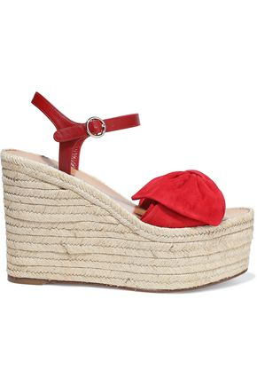 VALENTINO GARAVANI Suede and leather espadrille wedge sandals