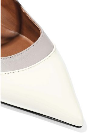 VALENTINO GARAVANI Embellished two-tone patent-leather pumps